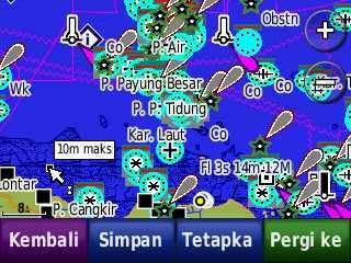 Tampilkan peta laut pada Nuvi 205