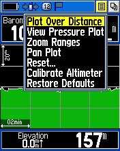 Menu pada halaman Altimeter