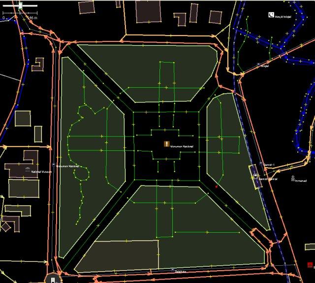 Zoom pada daerah Monas, perhatikan Directions pun ada termasuk POI
