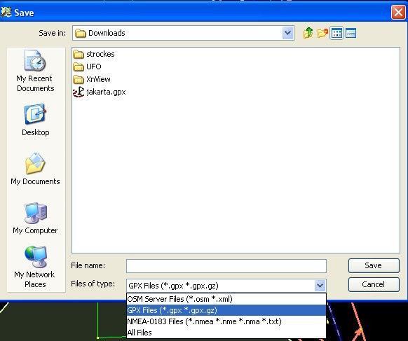 Pilih filetype gpx
