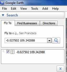 Masukkan koordinat SMS ke google earth