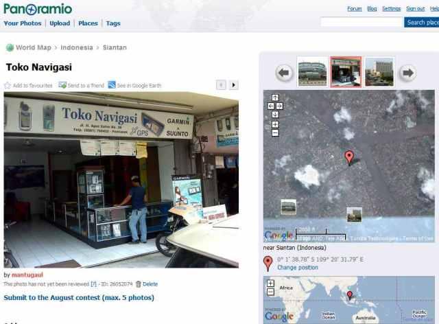 Hasil foto langsung upload ke panoramio tanpa kendala, geotag berfungsi dengan baik