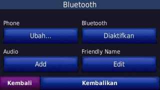 Menu Bluetooth