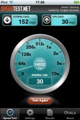 Speedtest dengan ipod touch (memakai Huawei)
