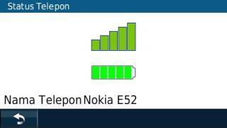 Status koneksi ke ponsel Nokia E52
