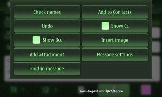Menu for email compose