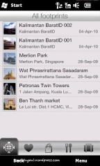 Aplikasi footprints, menandai tempat dengan foto