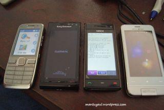Perbandingan Nokia E52, Sonyericsson Satio, Nokia X6, Garminasus M10