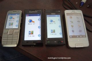 Nokia E52, Sonyericsson Satio, Nokia X6, Garminasus M10 semua jalankan GPS