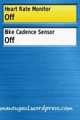 Setting alat fitness, heart rate monitor/cadence sensor