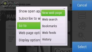 Browser menu