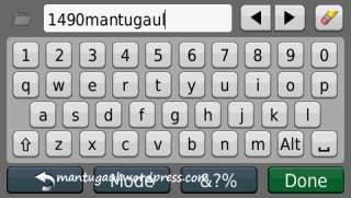 Input keyboard Nuvi 1490T
