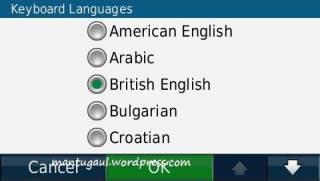 Keyboard languages Nuvi 1390T
