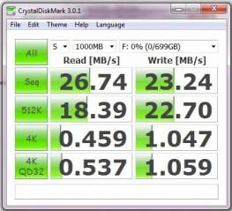 Pengujian 1000MB dengan Crystaldiskmark