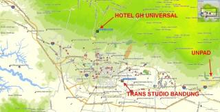 Peta posisi Trans Studio Bandung & Hotel GH Universal