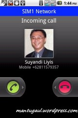 Waktu panggilan masuk, diatas muncul SIM 1 Network