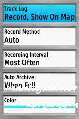 Setting tracklog