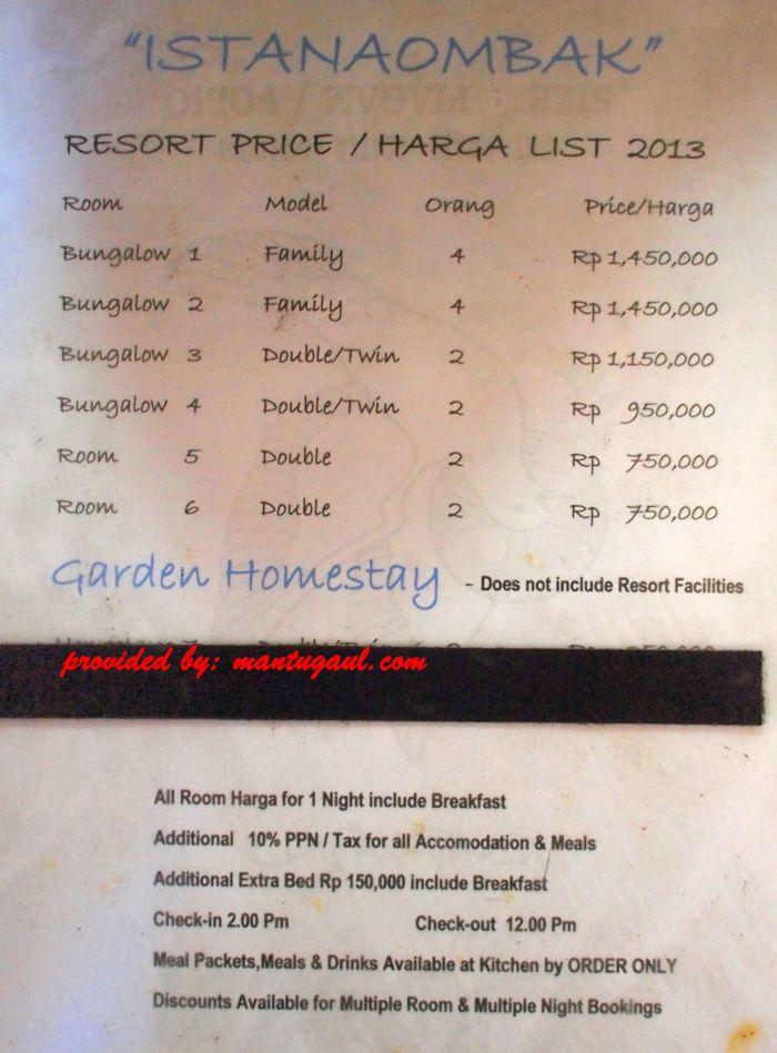 Harga per malam Istana (update Juni 2015)