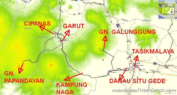 Peta Garut dan Tasikmalaya