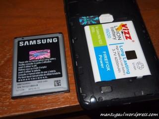 Pengujian dengan 2 baterai Samsung Galaxy Note yaitu 2500mAh (standard) & 4200mAh (Merk Vizz)