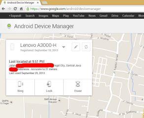 Masuk ke www.android.com/devicemanager
