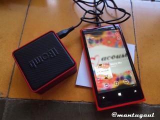 Mencoba iBomb Cube dengan Nokia Lumia 920 dengan AUX