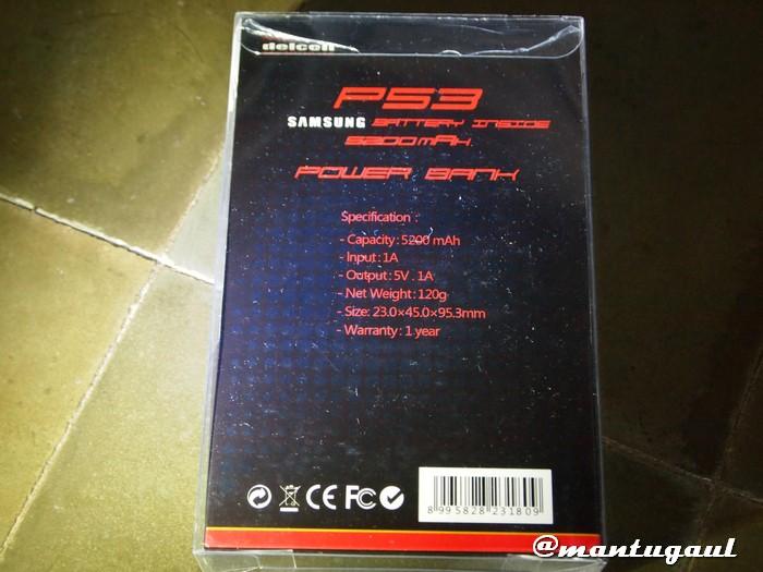 Powerbank Delcell P53 5200mAh tampak belakang