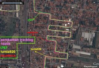 Perbandingan track dengan GPS lain