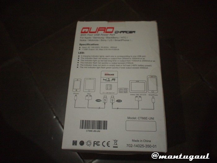 Kotak Delcell Quad Charger
