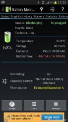Statistik pengisian pada Samsung Galaxy N7100