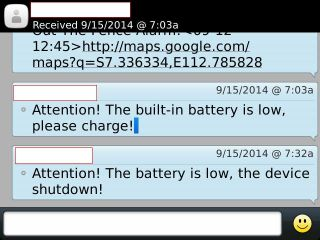 SMS saat baterai mau habis