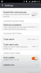 Cleaner settings